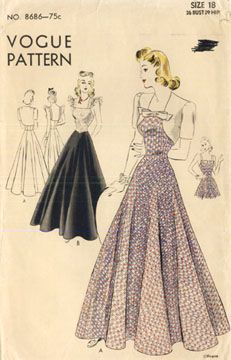 Vogue 8686 early 1940's evening dress and bolero pattern