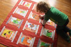 Sesame Street Quilt. Made from vintage Sesame Street bed sheets.
