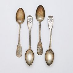 """FABERGE, FOUR 84 SILVER TEASPOONS, MOSCOW, 1895; S - FABERGE, FOUR 84 SILVER TEASPOONS, MOSCOW, 1895; Standard form; Leafy monograms MK; Assay marks possibly for Anatoly Artsibashov, Imperial Warrant; 6""""; 4.22 OT  by Rago Arts and Auction Center"""