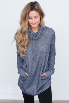 Shop our Cowl Neck Drawstring Tunic. Available in three colors. Free shipping on all US orders!