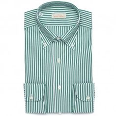 Bengal Stripe Button Down Shirt - Dark Green/White