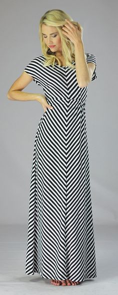 Perfect for warm weather! Doesn't have to be layered, so just slip this on and you're good to go! http://www.modestpop.com/products/black-chevron-maxi-dress