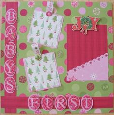Image detail for -Baby's First Christmas Girl Double 12 x 12 Scrapbook Layout