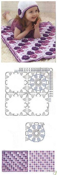 Crochet flower blanket. Love the color blocking & colors chosen. Diagram is as shown.