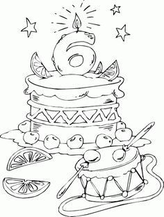 birthday cake age 6 coloring page - coloring.com