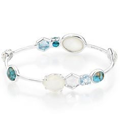 IPPOLITA Rock Candy Bangle in Harmony  Sterling silver Rock Candy mixed stone bangle in Harmony featuring clear quartz, blue topaz, mother-of-pearl and bronze turquoise doublets. Designed by Ippolita.