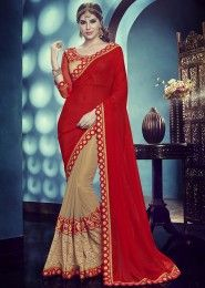 Designer Red And Beige Colored Kota Georgette Chiffon And Net Jacquard Saree