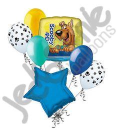 7 pc Scooby Doo Portrait Square Happy Birthday Balloon Bouquet Decoration