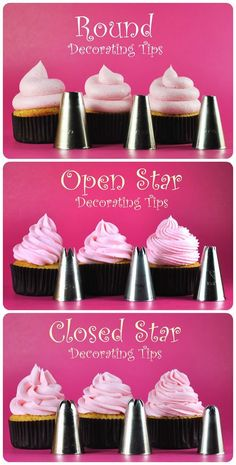 Cupcake frosting tips. For party/ shower cupcakes. Frosting Recipes, Cupcake Recipes, Cupcake Cakes, Icing Cupcakes, Diy Cupcake, Cupcake Icing Designs, How To Ice Cupcakes, Cupcake Frosting Tips, Cupcake Piping