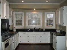 cream cabinets with dark granite - Google Search