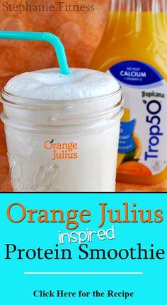 shake to gain muscle vanilla Orange Julius inspired Protein Smoothie 310 Shake Recipes, Protein Shake Recipes, Protein Foods, Protein Shakes, Egg Protein, Protein Energy, Energy Bars, Healthy Protein, Healthy Treats