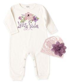 9bb284ebcd90 Loving this Ivory  Little Sister  Romper  amp  Floral Beanie - Infant on
