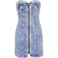 Debbie Zip Front Denim Dress by Topshop Archive (1 475 UAH) ❤ liked on Polyvore featuring dresses, denim, topshop, blue, topshop dresses, retro dresses, sweetheart neckline dresses, blue strapless dress and blue denim dress