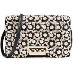 ZAC Zac Posen Earthette Floral Cross Body Bag ($295) ❤ liked on Polyvore featuring bags, handbags, shoulder bags, floral leather handbags, leather crossbody purse, crossbody shoulder bag, studded leather handbags and cross-body handbag