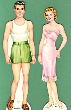 Very rare ORIGINAL (not reproduced) boxed BRIDAL PARTY paper doll ©1950s Whitman #4625. Set of 5 members of the bridal party and all 12 panels of uncut clothing  Auctiva Image Hosting
