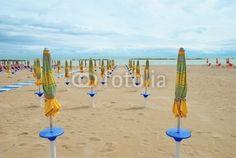 San Benedetto del Tronto, closed umbrellas on the beach