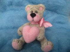 Needle felted Teddy bear with heart wool toy by WoolFeel on Etsy