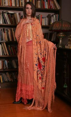 Antique Silk Embroidered Piano Shawl