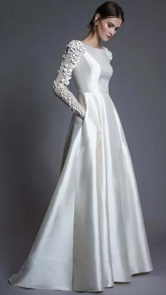 30 Cute Modest Wedding Dresses To Inspire ❤ modest wedding dresses simple a line with long sleeves vivabride Modest Wedding Dresses, Elegant Wedding Dress, Designer Wedding Dresses, Bridal Dresses, Wedding Gowns, Israeli Wedding Dress Designer, Muslimah Wedding Dress, Elegant Dresses Classy, Classic Dresses
