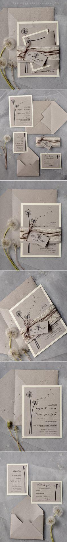 Wedding Invitations with Dandelions #ecofriendly #Dandelion #weddingideas #summerwedding