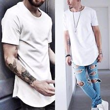 Men's T-Shirt Lot Long Extended Casual Fashion T-Shirt Basic Crew Neck Hip Hop