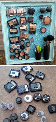 Make-up Magnet Board Click Pic for 18 DIY Makeup Storage Ideas for Small Bedrooms Easy Organization Ideas for the Home Bathroom Organization, Makeup Organization, Storage Organization, Organization For Small Bedroom, Diy Storage Ideas For Small Bedrooms, Storage Hacks, Organizing Ideas, Organizing Small Bedrooms, Home Storage Ideas