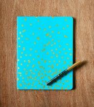 DIY Gold Dot Notebook | Somewhere Splendid #celebstylewed #dots #weddings