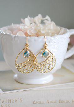 Gold und Aqua blau Ohrringe Ohrringe Gold filigrane von LeChaim