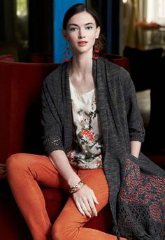 Not sure I could pull off the dark orange pants, but love this chic yet comfortable look!