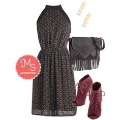 In this outfit: Morning, Bloom, and Night Dress, Know the Way Earrings, Fringe Benefits Bag, You Can Prance If You Want To Heel #simple #minimalist #fringe #boho #bohofashion #fashion #outfits #modcloth #heels #floral #darkfloral #ootd