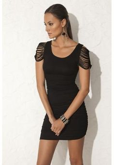 CAGE SLEEVE LITTLE BLACK DRESS $24.90 Cotton and spandex blend