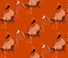 'Umbrella cranes' custom made fabric design by English/Finnish designer Mirjamauno, © 2014.