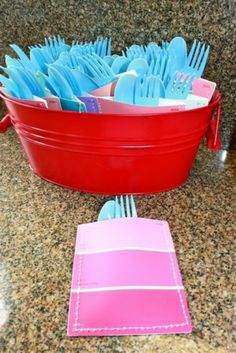 Sew paint chips to make utensil holders! by angela