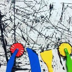 "Black & White ""Mark Making"" Process Art Using Playdough Tools (from Happy Toddler Playtime via Instagram: https://www.instagram.com/p/BOJRjoIAxxk/?taken-by=happytoddlerplaytime)"