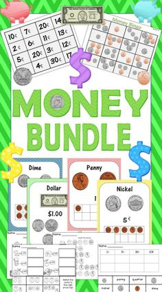 Money Activities Bundle! Over 40 pages of money activities for early learners!  K-2 1..money posters, bingo, piggy bank match game, worksheets....