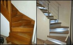 Hello, I have an exotic wood staircase vitrified and damaged; Thank you for your advice and ideas Source by florinedumt Painted Staircases, Wood Staircase, Stairs, Living Room Kitchen, Living Room Decor, Stair Renovation, Small House Plans, House Painting, Home Remodeling