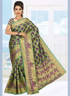 Art Silk Casual Saree in Green Celebrity Gowns, Net Saree, Casual Saree, Latest Sarees, Traditional Sarees, Green Art, Fabric Shop, Work Casual, Sarees Online