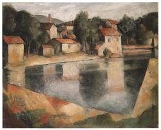 uferlandschaft mit hausergruppe Auction, Canvas, Artist, Artwork, Painting, Landscape, Tela, Work Of Art, Auguste Rodin Artwork
