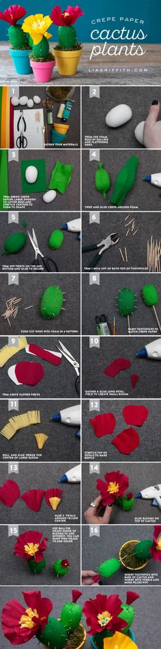 These adorable crepe paper cactus plants only take 30 minutes to put together, a. These adorable crepe paper cactus plants only take 30 minutes to put together, a. Crepe Paper Crafts, Crepe Paper Flowers, Diy Paper, Fabric Flowers, Kraft Paper, Handmade Flowers, Diy Flowers, Cactus Craft, Summer Party Decorations