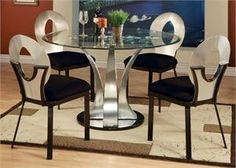 Furniture Design Dining Room Small Dinette Sets Metal And Glass 5 Pc Cady Round Table With Beveled Edge