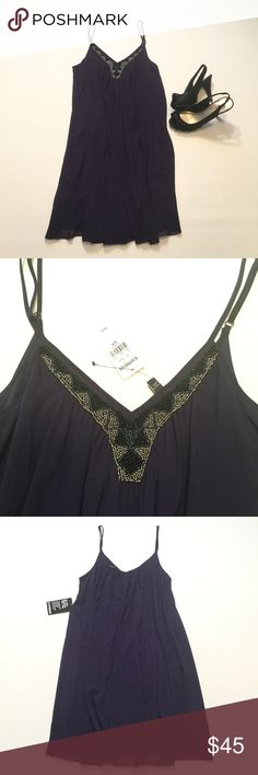 """Express Shift Dress Brand new with tag. Beautiful beaded neckline. Size small. Fully lined. Adjustable straps. Length approx 29"""" Color: plum Express Dresses Mini"""