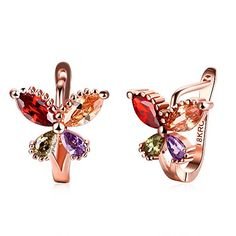 Amazon.com  Silver Plated Colorful Gemstone Butterfly Stud Earrings  Jewelry 8c12c759e2d4