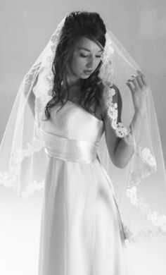 Ivory White Wedding Veil Waist Length Or Finger Tip By EvaJune