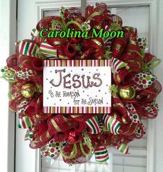 """Christmas Wreath Red Lime Green Stripe Deco Mesh  """"JESUS is the REASON for the SEASON"""" Christmas Wreath with Ribbon Streamers"""