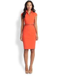 Women's Akris Punto Orange Cap Sleeve Belted Jersey Dress Size 38 FR 6 US #akrispunto