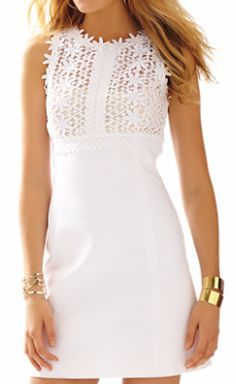 Lilly Pulitzer Breakers Lace Top Shift Dress in Resort White