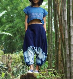 A personal favorite from my Etsy shop https://www.etsy.com/listing/549867909/shibori-harem-pants-drop-crotch-pants