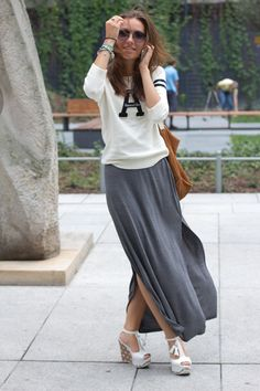 """i have been looking for ways to wear a maxi skirt - and love this hipster prep look. Especially love the top - now only if they had a """"R"""" shirt.... all about me inspiration!"""