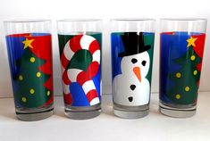Vintage Holiday Highball/Cocktail/Drinking Glasses Set of Four by TimelessTreasuresbyM on Etsy
