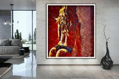 Nude Art Acrylic painting Canvas Artwork Nude painting image 3 Large Painting, Acrylic Painting Canvas, Canvas Artwork, Modern Wall Decor, Modern Art, Original Art, Original Paintings, Colorful Artwork, Extra Large Wall Art